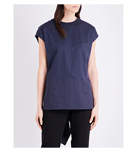 TOPSHOP Hybrid tie-back cotton-jersey top (Navy+blue