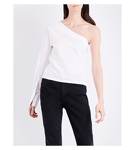TOPSHOP One-shoulder cotton-jersey and cotton-poplin top (White