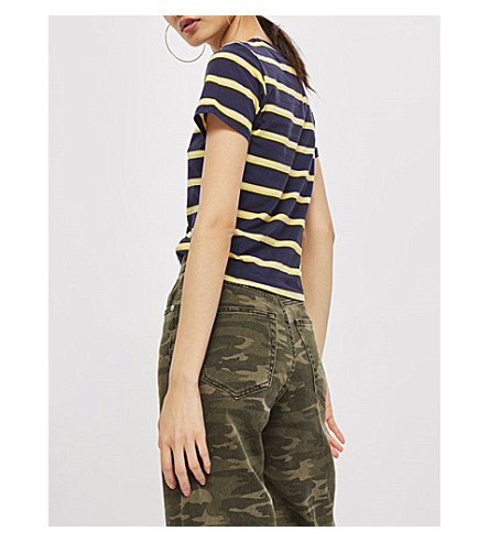 TOPSHOP Striped cotton T-shirt (Navy+blue