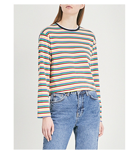 TOPSHOP Rainbow-striped cotton-jersey top (Multi