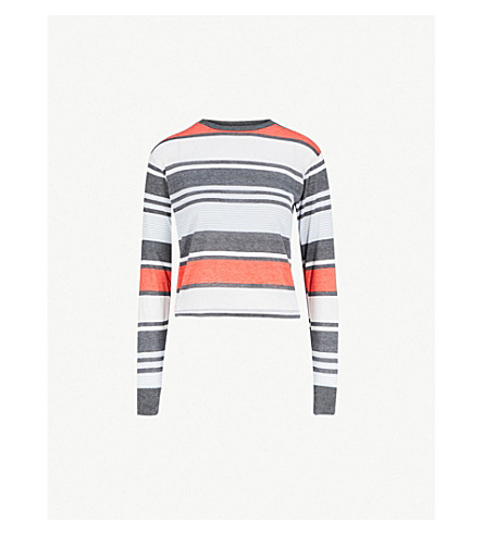 TOPSHOP Striped jersey top (White