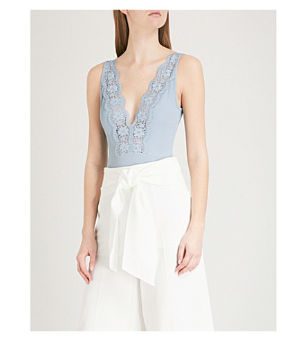 TOPSHOP Lace-trim stretch-knit body (Blue