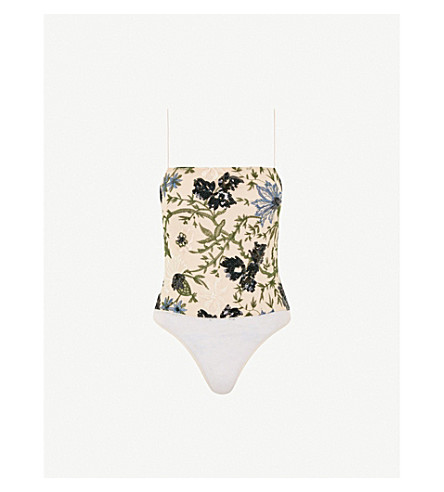 TOPSHOP Floral embroidered sequin body (Nude