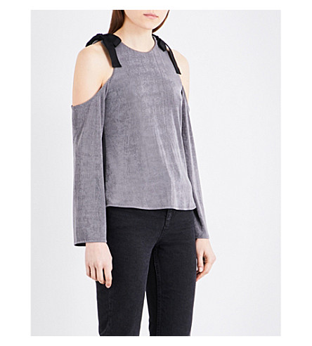 TOPSHOP Cold shoulder woven top (Dark+grey