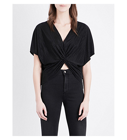 TOPSHOP Batwing Twist-front woven top (Black