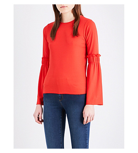 TOPSHOP Trumpet-sleeve crepe top (Poppy+red
