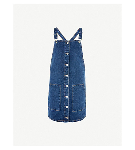 TOPSHOP Patch-pocket denim pinafore dress (Mid+stone