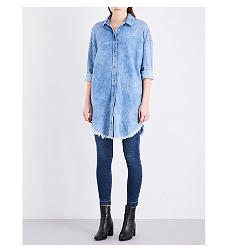 TOPSHOP Elton moto denim dress (Mid+stone