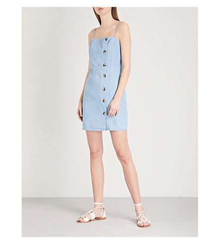 TOPSHOP Button-up denim dress (Mid+stone