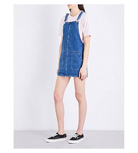 TOPSHOP Pocket denim pinafore dress (Mid+stone