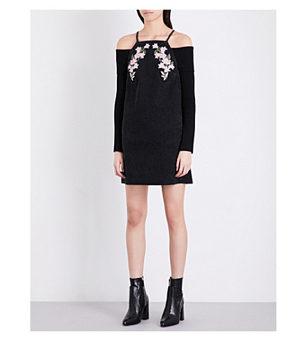 TOPSHOP Floral-embroidered denim dress (Black