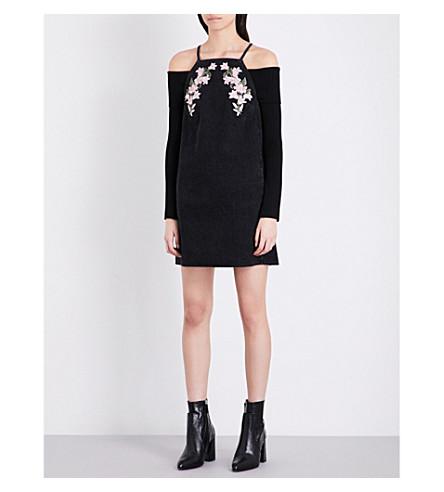 TOPSHOP Floral-embroidered denim dress (Black