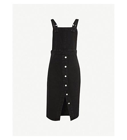 TOPSHOP Split-front denim pinafore dress (Washed+black