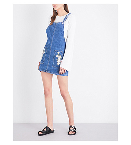 TOPSHOP Floral denim pinafore dress (Mid+stone