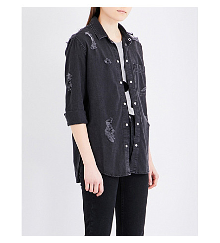 TOPSHOP Elton distressed denim shirt (Washed+black
