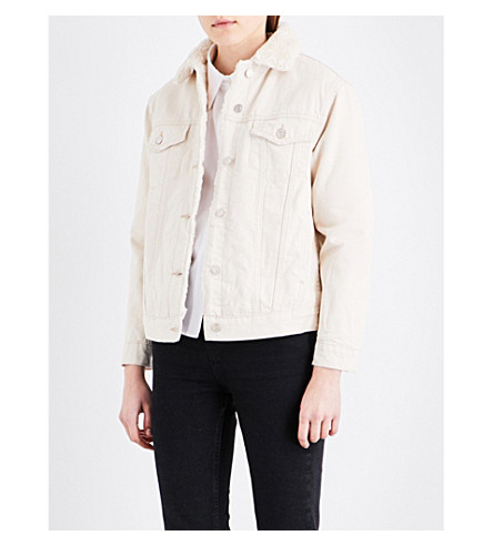 TOPSHOP Faux-shearling collar denim jacket (Ecru