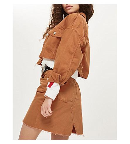 TOPSHOP Frayed-hem denim jacket (Rust