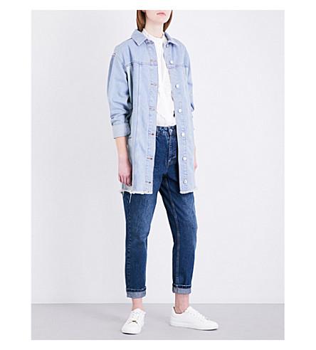 TOPSHOP Longline denim jacket (Mid+stone