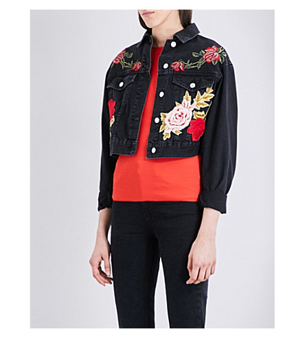 TOPSHOP Moto rose-embroidered denim jacket (Washed+black