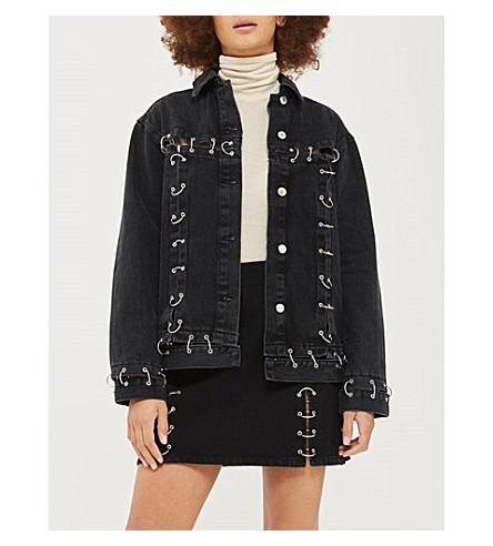 TOPSHOP Moto piercing denim jacket (Black