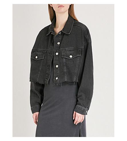TOPSHOP Raw-hem denim jacket (Washed+black