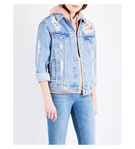 TOPSHOP Distressed moto denim jacket (Mid+stone