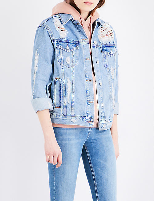 Distressed moto denim jacket