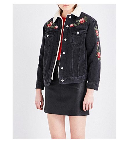 TOPSHOP Rose-embroidered denim jacket (Washed+black