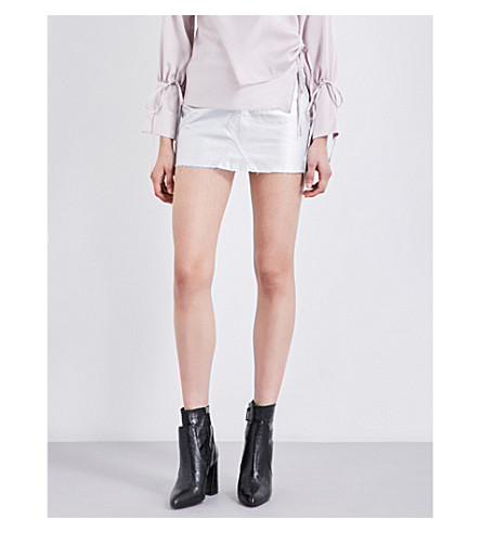 TOPSHOP Metallic-coated denim skirt (Silver