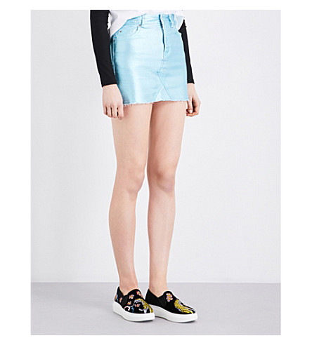 TOPSHOP Metallic cotton skirt (Aqua