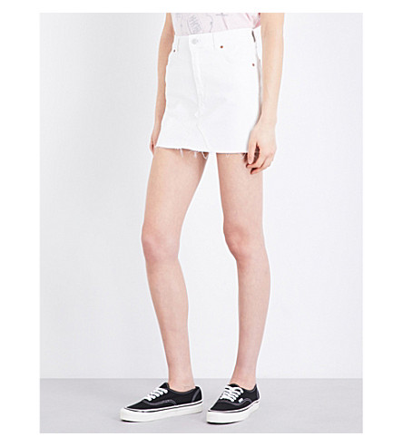 TOPSHOP Coated high-waisted stretch-denim mini skirt (White