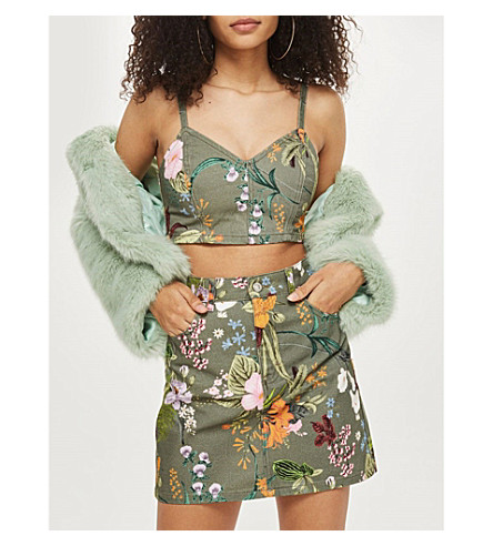 TOPSHOP Floral-print denim mini skirt (Khaki
