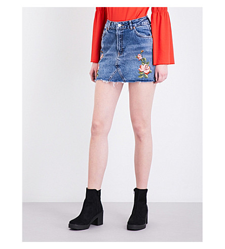 TOPSHOP Rose-embroidered denim skirt (Mid+stone