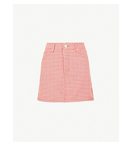 TOPSHOP Dogtooth woven mini skirt (Red