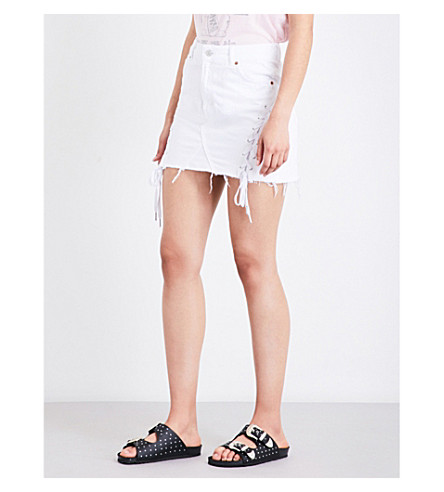 TOPSHOP Lace-up denim mini skirt (Off+white