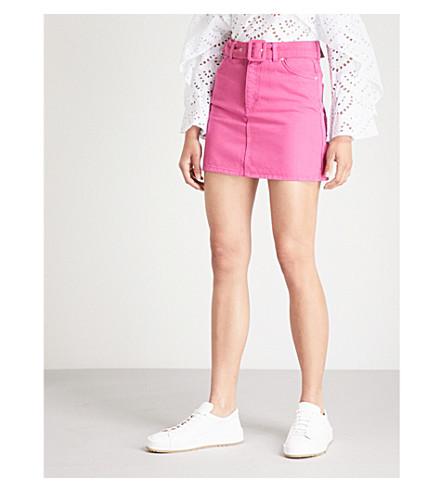 TOPSHOP 皮带高腰牛仔裙 (粉红色