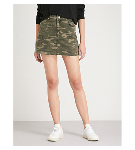 TOPSHOP Camouflage-print denim mini skirt (Khaki