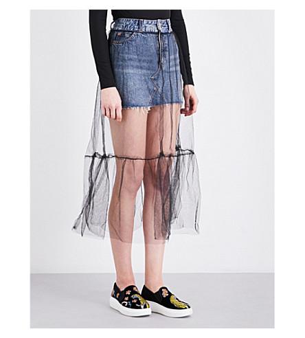 TOPSHOP Tulle-overlay denim skirt (Mid+stone