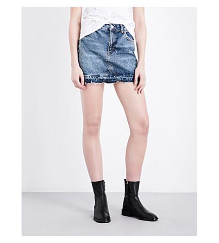 TOPSHOP Mid-rise denim skirt (Mid+stone