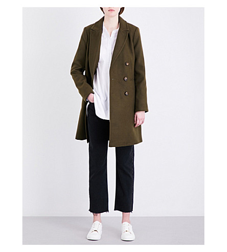 TOPSHOP Double-breasted felt coat (Khaki