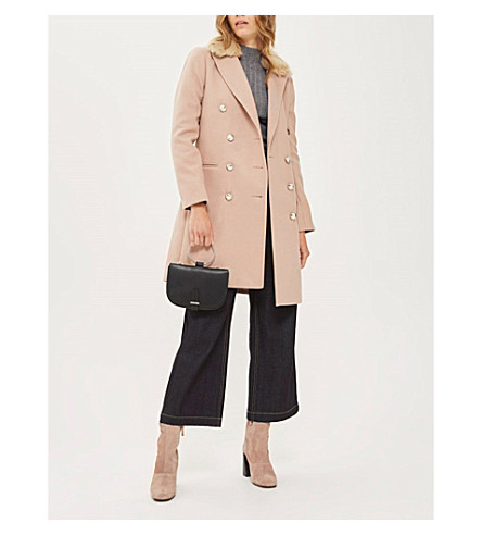 TOPSHOP Nancy faux-fur collar coat (Nude
