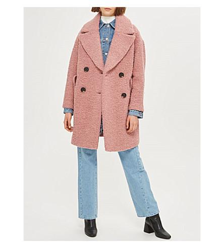 TOPSHOP Alicia bouclé coat (Pink