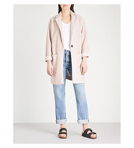 TOPSHOP Bouclé cotton-blend coat (Blush