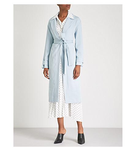 TOPSHOP Self-tie woven coat (Blue