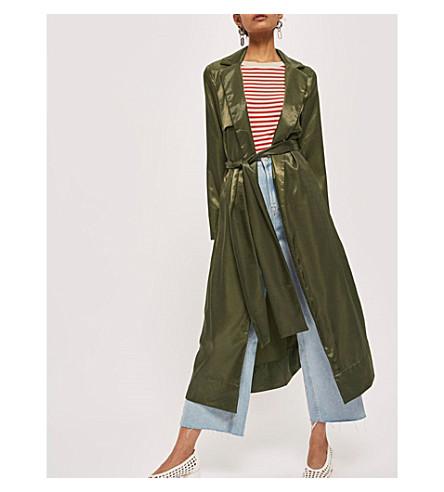 TOPSHOP Split-sides satin coat (Khaki