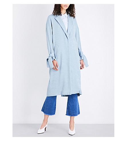 TOPSHOP Plisse woven duster coat (Dusty+blue