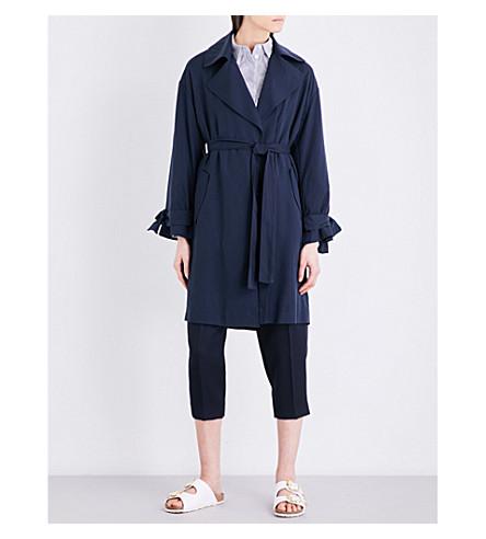 TOPSHOP Tie-waist woven coat (Navy+blue