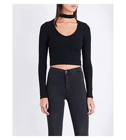 TOPSHOP Cutout-detail knitted top (Black
