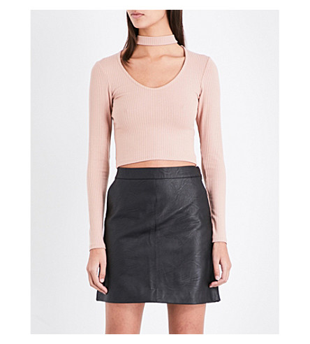 TOPSHOP Cutout-detail knitted top (Blush