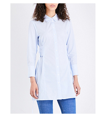 TOPSHOP Corset cotton shirt (Blue